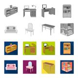 Soft sofa, toilet make-up table, dining table, shelving for laundry and detergent. Furniture and interior set collection. Icons in monochrome,flat style stock illustration