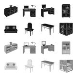 Soft sofa, toilet make-up table, dining table, shelving for laundry and detergent. Furniture and interior set collection. Icons in black,monochrome style vector illustration