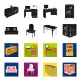 Soft sofa, toilet make-up table, dining table, shelving for laundry and detergent. Furniture and interior set collection. Icons in black,flet style isometric stock illustration