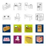 Soft sofa, toilet make-up table, dining table, shelving for laundry and detergent. Furniture and interior set collection. Icons in outline,flat style isometric vector illustration