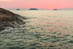 Soft sunset on a rocky sea beach. Travel. Royalty Free Stock Photo