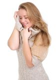 Soft sweater against face Royalty Free Stock Image