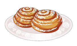 Soft sweet bun, rolled spirally, and sprinkle with powdered sugar on plate. Fresh hot cakes. Cooking. Dessert to tea. Vector. Soft sweet bun, rolled spirally Stock Photo