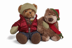 Soft teddy bear couple. Isolated teddy bear couple sitting at white background. Two friends in inter clothing stock photos