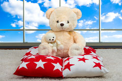 Soft Teddy bear.Soft beautiful decorative pillows for interior decoration in the house. sitting on the pillow on the background of. Beautiful pillows to decorate royalty free stock image