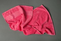 Soft terry towel on grey background, Royalty Free Stock Photos