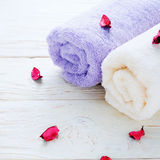 Soft terry towel on white boards Royalty Free Stock Photos