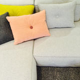 Soft textile sofa with cushions Stock Photo