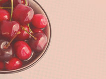 Soft toned card with cherries Royalty Free Stock Photos