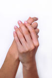 Soft Touch Woman Hands. Hand model Royalty Free Stock Images