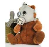 Soft toy bear with gas mask Royalty Free Stock Photo