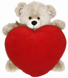 Soft toy bear and heart Stock Image