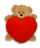 Soft toy bear and heart Stock Photos