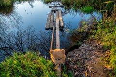 Soft toy bear outdoors. Near footbridge on the fall ground royalty free stock photos