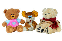 Soft toy. Bears with a little mouse. Soft toy. Bears with a little mouse on a white background Stock Photos