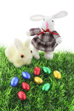 Soft Toy Bunnies and Easter Eggs Stock Photos