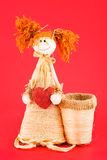 Soft toy. Doll made of straw. Royalty Free Stock Images
