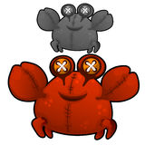 Soft toy fat red crab with eyes buttons. Vector. Illustration isolated Royalty Free Stock Photo