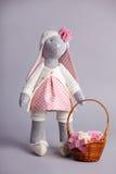 Soft toy gray rabbit Stock Photos