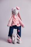 Soft toy gray rabbit Stock Photo
