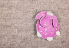 Soft toy handmade. The Pink Lamb. Copy space. Soft toy handmade. The Pink Lamb royalty free stock image