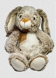 Soft toy hare on a transparent background, png. Soft toy sitting downy hare, on a transparent background, png format royalty free stock photo