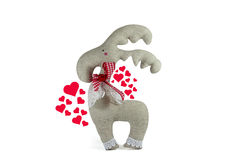 Soft toy and heart symbols of love, isolated Royalty Free Stock Photography
