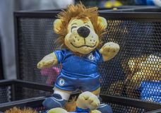Soft toy lion with FC Chelsea emblem. Visiting the official store of FC Chelsea. London, the UK Royalty Free Stock Photography