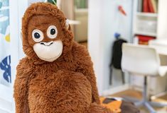 Soft toy orange monkey in the toy store stock images