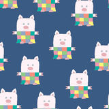 Soft Toy Patchwork Piggy Seamless Pattern Royalty Free Stock Photos