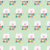 Soft Toy Patchwork Piggy Seamless Pattern Stock Images