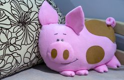 Soft toy pillow pink pig stock images