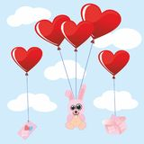Soft toy rabbit Valentine Valentine`s Day. heart. red love angel wings love heart big. gift. letter. Cupid.. Heart. red love angel wings love heart big. gift Stock Photography