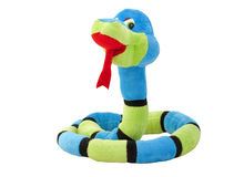 Soft toy snake against white background Royalty Free Stock Image