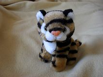 Soft toy striped tiger stock image