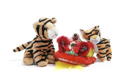Soft Toy Tigers and Lion Dancing Head Stock Photo