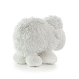 Soft Toy White Lamb. Back view of soft toy white lamb isolated on a white background royalty free stock image