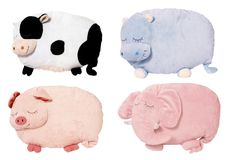 Soft toys. Four cute soft animal toys displayed on plain white background for ease of cutting out Royalty Free Stock Photo
