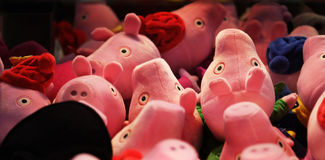 Soft toys in amusement machine. Royalty Free Stock Images