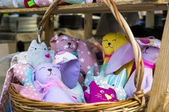 Toys in the basket. Soft toys in the basket Stock Photos