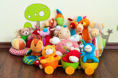 Soft toys. In a child's bedroom Stock Photos