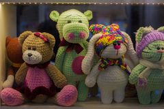 Soft toys for children in the window. royalty free stock images