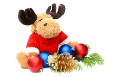 Soft toys and Christmas balls. Royalty Free Stock Photo