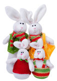 Soft toys family of rabbits Stock Image