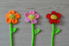 Soft toys flowers. Smile fun childhood decoration royalty free stock photo