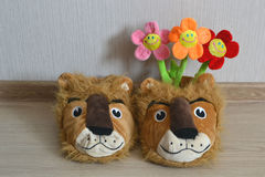 Soft toys flowers. Smile fun childhood decoration stock photos
