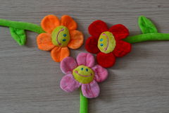 Soft toys flowers. Smile fun childhood decoration royalty free stock photos
