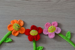 Soft toys flowers. Smile fun childhood decoration Royalty Free Stock Photography