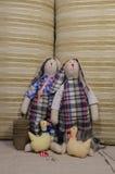 Soft toys rabbits Stock Photos