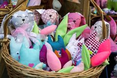 Soft toys. In the basket Stock Image